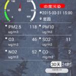 中国の空気汚染をリアルタイムで見れるアプリ